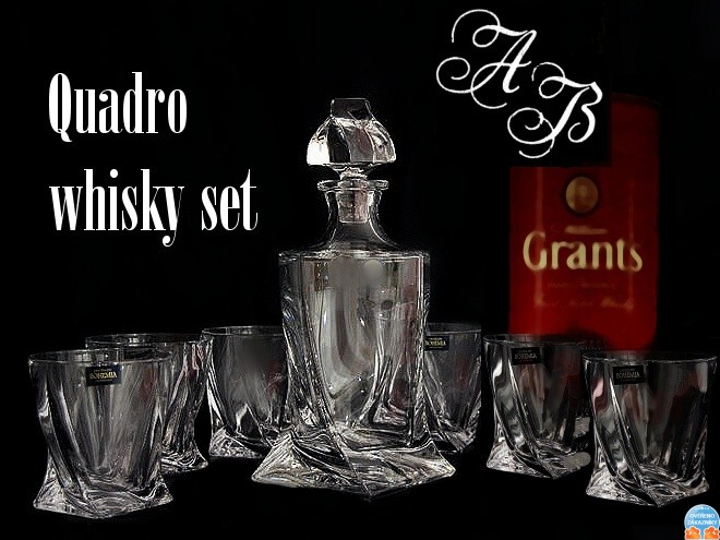 quadro whisky set 3 st cke kristallglas 1x whisky karaffe und 2 x whisky gl ser mit 3x. Black Bedroom Furniture Sets. Home Design Ideas