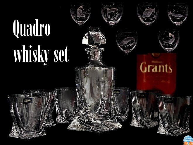 quadro whisky set 7 st cke kristallglas whisky karaffe und 6 x whisky gl ser mit fisch. Black Bedroom Furniture Sets. Home Design Ideas