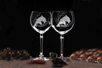 6x Wine glasses with DOLPHIN - 450 ml