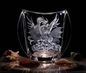 Engraved Vase with DRAGONS WOMAN