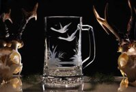 Pint with a flying goose - glass beer