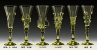 2x Historical Glass - Glass champagne 1419/SP/20 cm,  1419/M/20,5 cm