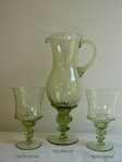 Decanter with 6 glasses of historical glass - 1x 1127/800 ml a 6x 14025/250 ml