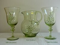 Pitcher with 6 glasses of historical glass - 1x 1129/VN/800 ml a 6x 1480/VN/200 ml