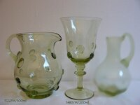 Pitcher with 6 glasses of historical glass  - 1x 1122/M/500 ml a 6x 1480/M/200 ml