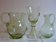 Pitcher with 6 glasses of historical glass  - 1x 1122/S/500 ml a 6x 1482/RS/150 ml