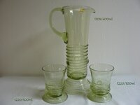 Pitcher with 6 glasses of historical glass - 1x 1109/400 ml a 6x 1220/100 ml
