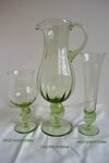 Bottle with 6x glasses of historical glass - 1x 1116/SNKOP/800 ml a 6x 1413/SNKOP/230 ml