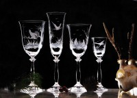 Service Angela hunting motif 24x Hand - engraved glass