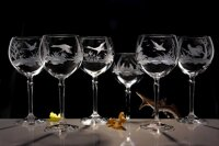 6x Hand engraved glass of red wine 450 m l- hunting scenes