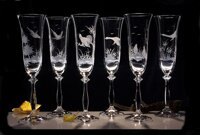 6x engraved champagne glasses Angela for 190 ml - hunting decor