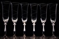 6x Angela glasses of champagne 190 ml-helix motif