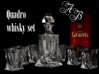 Quadro Whiskey set 1+2, crystal glass ( 3 pieces ) with 3x monograms
