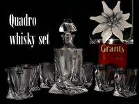Quadro Whiskey set 1+6, crystal glass ( 7 pieces )  with EDELWEISS