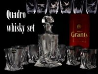 Quadro Whiskey set 1+6, crystal glass ( 7 pieces ) HUNTING SCENES