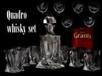 Quadro Whiskey set 1+6, crystal glass ( 7 pieces ) with FISCH