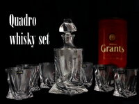 Quadro Whiskey set 1+2, crystal glass ( 3 pieces )