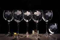 6x engraved wine glasses for red wine 450 ml of wine motif