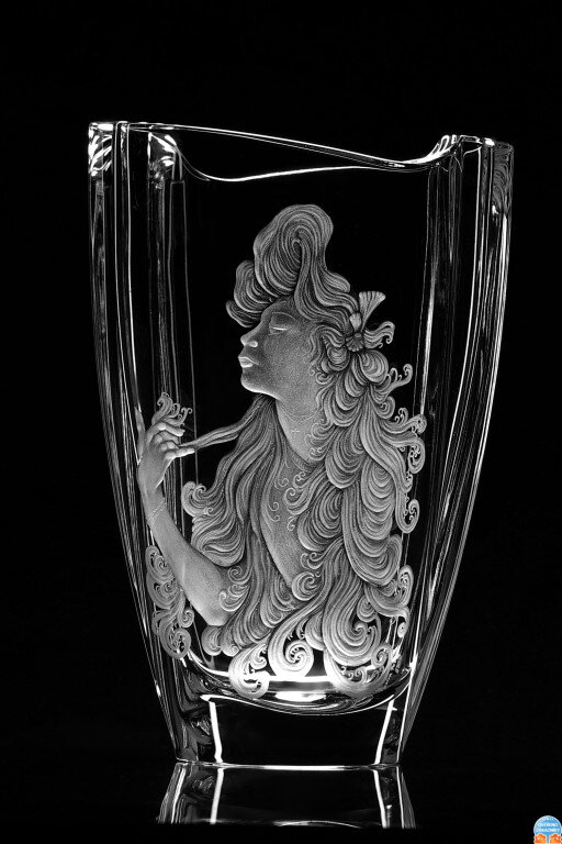 Engraved Vase With Mucha Motiv